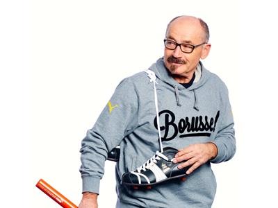 Helmut Fischer mit einem PUMA Schuh