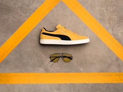 Kering Sonnenbrille und Suede Schuh